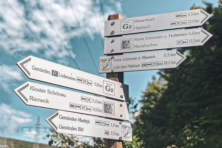 Wander- und Fahrradwege in Gemünden am Main